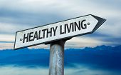 Healthy Living sign with sky background