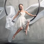 Girl with long flying dress