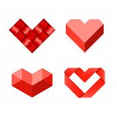 Heart shaped symbols. Vector.