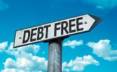 stock photo of debt free  - Debt Free sign with sky background - JPG