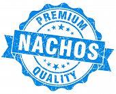 Nachos Blue Grunge Seal Isolated On White