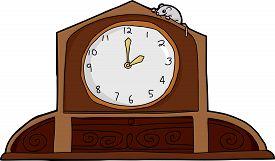 image of nursery rhyme  - Cartoon mouse on top of ornate mantle clock - JPG