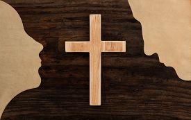 pic of adam eve  - christian couple pray concept cross wooden silhouette paper cut - JPG