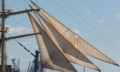 stock photo of mast  - Ship Mast in front of a cloudless sky - JPG