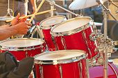 picture of drum-set  - Set of drums on the open air concert - JPG
