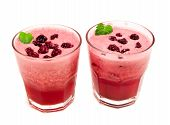 foto of blackberries  - Blackberry and grape smoothies isolated on white background - JPG