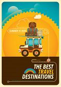 picture of  jeep  - Colorful traveling poster with jeep - JPG