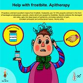 stock photo of frostbite  - Information poster about first aid for frostbite using apitherapy - JPG