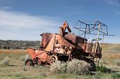 picture of time machine  - damaged machine at the Antelope Valley Poppy Reserve in California photo taken in spring time - JPG