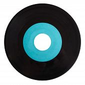 foto of analogy  - Vinyl record vintage analog music recording medium with blue label isolated over white - JPG