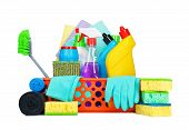 stock photo of housekeeper  - Cleaning supplies in a basket  - JPG