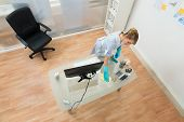 picture of maids  - High Angle View Of Young Maid Cleaning Desk In Office - JPG