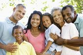 stock photo of multi-generation  - Multi Generation African American Family Walking In Park - JPG