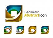 image of universal sign  - Set of abstract geometric company logo square - JPG