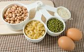 image of carbohydrate  - Food Ingredient Pasta Rice Peanuts Mung Beans and Egg High in Carbohydrate and Protein - JPG