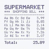 picture of supermarket  - Supermarket shopping bill font - JPG