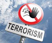 stock photo of fundamentalist  - stop terrorism war on terror no terrorist attacks - JPG