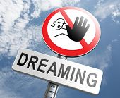 stock photo of daydreaming  - stop dreaming face hard facts reality and check truth no daydreaming being down to earth - JPG