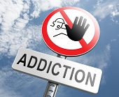 stock photo of crack addiction  - stop addiction drug and alcohol prevention rehabilitation warning sign pain killer or tranquilizer addict - JPG