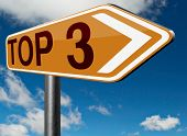 stock photo of quiz  - top 3 chart pop poll results ranking of quiz or sport results - JPG