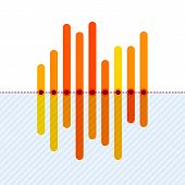 picture of asymmetric  - Flat infographics with asymmetric orange overlapping bars and dotted center line - JPG