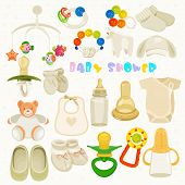 stock photo of neutral  - Vector illustration in Neutral design with cute items for childs - JPG