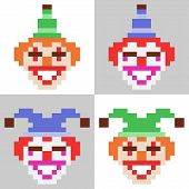foto of clown face  - illustration vector isolate icon pixel art clown face - JPG