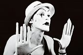 foto of mime  - theater actor in makeup funny mime closeup - JPG