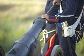picture of artillery  - Napoleonic artillery soldier feeding the cannon at La Albuera Battle Reenacment