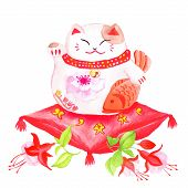 stock photo of waving hands  - Chinese lucky cat sitting on the red pillow with fuchsia and waving paw - JPG