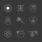 picture of honey bee hive  - Flat design vector concept illustration with icons of  products bee - JPG