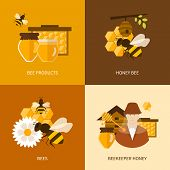 pic of honey bee hive  - Flat design vector concept illustration with icons of  products bee - JPG