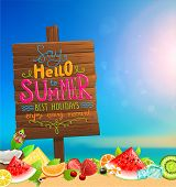 stock photo of summer beach  - Wooden Plaque with Say Hello to Summer - JPG