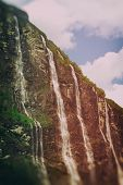 stock photo of fjord  - Geiranger fjord Norway - waterfalls Seven Sisters. ** Note: Visible grain at 100%, best at smaller sizes - JPG