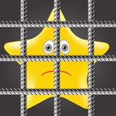 picture of iron star  - Single Yellow Star is Behind Prison Bars - JPG