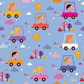 picture of designated driver  - cute kids driving cars seamless pattern design - JPG