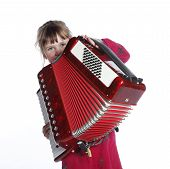stock photo of accordion  - very young girl with accordion in studio against white background - JPG