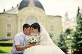 foto of married  - wedding day just married  of happy newlyweds - JPG