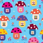 stock photo of fairy-mushroom  - cute little animals in mushroom houses kids seamless pattern - JPG