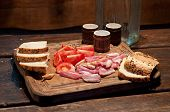 image of vodka  - Bacon tomato bread and vodka on the table - JPG