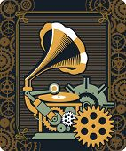 picture of steampunk  - illustration of Steampunk with an antique gramophone mechanical components and rotating parts - JPG