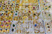 stock photo of precious stone  - Jewelry made of precious stones and colored stones - JPG