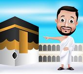 stock photo of kaaba  - 3D Realistic Muslim Man Character Wearing Ihram Clothes Performing Hajj or Umrah with Kaaba in Makkah Background - JPG