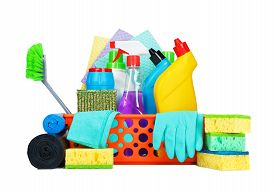stock photo of disinfection  - Cleaning supplies in a basket  - JPG