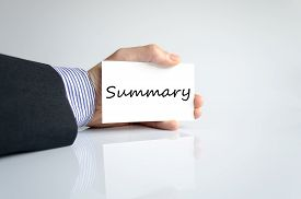 picture of summary  - Business man hand writing Summary white background - JPG