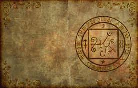 picture of occult  - An ancient textured paper page background with mystical magical occult sigil or seal and blank space for your copy - JPG
