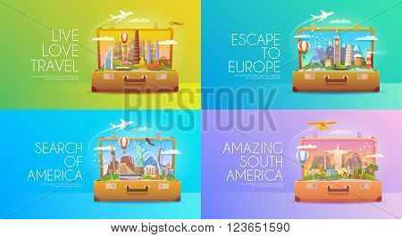poster of Trip to World. Travel to World Vacation. Road trip. Tourism. Travel banner. Open suitcase with landmarks. Journey. Travelling illustration. Modern flat design. EPS 10. Colorful. America Asia Europe