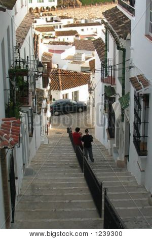 Picture or Photo of Street scene in the village of mijas andalucia spain