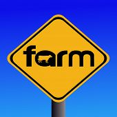 stock photo of animal silhouette  - Warning farm sign with cow silhouette illustration - JPG