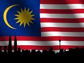 image of kuala lumpur skyline  - Kuala Lumpur skyline and Petronas Towers with rippled Malaysian flag illustration - JPG